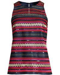 Trina Turk Jet Set Jungle Aracari Embroidered Sleeveless Top