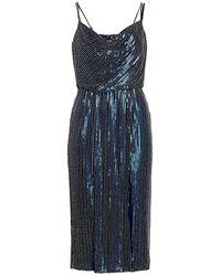 Haney Elise Sequin Blouson Cocktail Dress - Blue