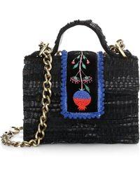 Kooreloo Midi Petite Woven Leather Crossbody Bag - Black