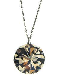 Silvia Furmanovich Marquetry 18k White Gold, Brown Diamond & Wood Geometric Round Pendant Necklace - Metallic