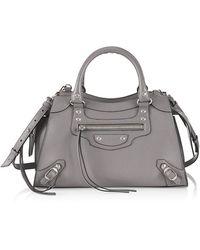 Balenciaga Small Neo Classic Leather Satchel - Gray