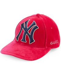 7365d6412c1 Gucci - Women s New York Giants Embroidered Baseball Cap - Fuchsia - Lyst