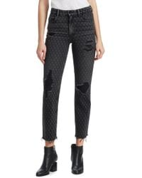 T By Alexander Wang - Cropped Straight Distressed Hem Jeans - Lyst
