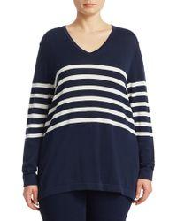 Marina Rinaldi - Striped Wool Sweater - Lyst