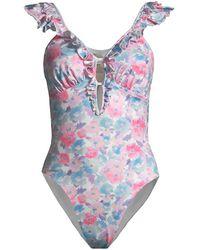 LoveShackFancy Tibbie One-piece Swimsuit - Blue