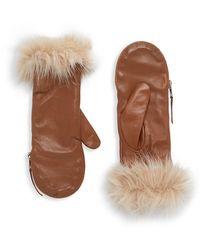 Carolina Amato Faux Fur-trim Leather Mittens - Brown