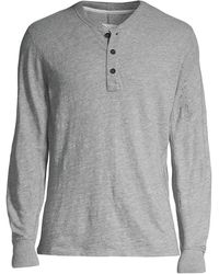 Rag & Bone Mélange Cotton-blend Jersey Henley T-shirt - Gray