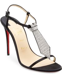Christian Louboutin - T Cab 100 Embellished Satin Sandals - Lyst