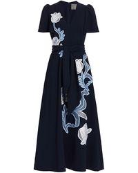 Lela Rose Floral Embroidered Fluid Crepe Flutter Sleeve Midi Dress - Blue