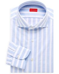 Isaia Striped Cotton Dress Shirt - Blue