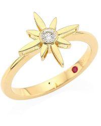 Roberto Coin Roberto Coin Disney X Princess Cinderella 18k Yellow & Diamond Star Ring - Metallic