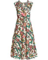 e0fb4ff7dfc Figue - Women s Printed Cotton Midi Dress - Parchment - Lyst