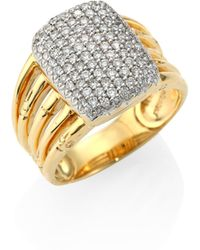 John Hardy | Bamboo Diamond & 18k Yellow Gold Five-row Ring | Lyst