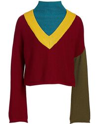 Victor Glemaud Colorblock Merino Wool Sweater - Red