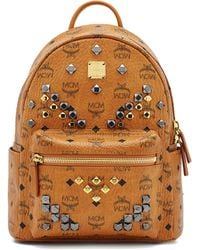 MCM - Stark M Stud Small Coated Canvas Backpack - Lyst