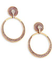 Plevé - Pink Burst Diamond & 18k Yellow Gold Opus Hoop Earrings/0.6 - Lyst