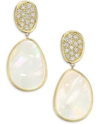 Marco Bicego - Diamond Lunaria Double Drop Earrings With Mother-of-pearl - Lyst