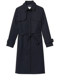 Sandro Pleated Inset Trench Coat - Blue