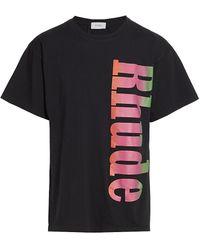 Rhude Neon Logo Graphic T-shirt - Black