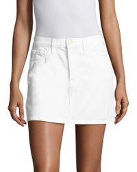 FRAME - Le Mini White Denim Skirt - Lyst