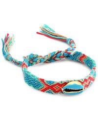 Fallon Enamel Shell Embellished Woven Friendship Bracelet - Blue