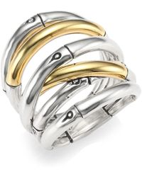 John Hardy - 18k Gold & Silver Bamboo Ring - Lyst