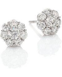 Hearts On Fire - Fulfillment Diamond & 18k White Gold Stud Earrings - Lyst