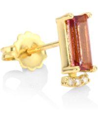 Paige Novick - Powerful Pretty Things Diamond & Pink Tourmaline Single Baguette Stud Earring - Lyst