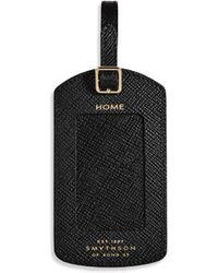 Smythson Panama Saffiano Leather Luggae Label - Black