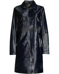 Elie Tahari Karla Calf Hair Trench Coat - Black