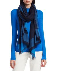 St. John Border Print Wool & Silk Scarf - Blue