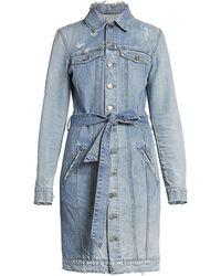 Givenchy Distressed Denim Shirt Dress - Blue