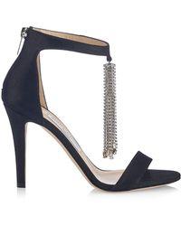 Jimmy Choo Viola Crystal-tassel Suede Sandals - Black