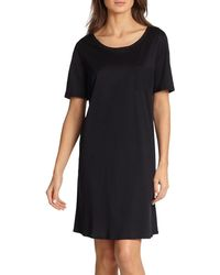 Hanro Cotton Deluxe Short-sleeve Gown - Black