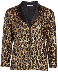 Alice + Olivia Keir Sequin Leopard Print Pajama Top - Multicolor