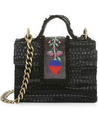 Kooreloo Midi Petite Woven Leather & Velvet Crossbody Bag - Black