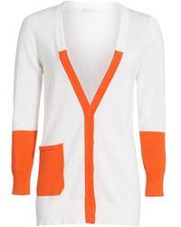 Joan Vass Petite Colorblock Cotton Cardigan - Orange