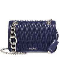 Miu Miu Club Matelasse Leather Chain Shoulder Bag - Blue