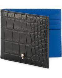 Alexander McQueen - Croc Print Leather Wallet - Lyst