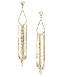 Adriana Orsini Gia 18k Yellow Goldplated & Cubic Zirconia Chain Fringe Earrings - Metallic