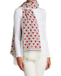 Burberry Tb Monogram & Heart Cashmere Scarf - White