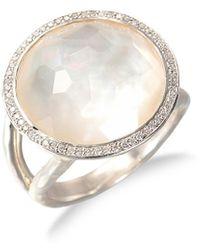 Ippolita Lollipop Medium Sterling Silver, Mother-of-pearl & Diamond Ring - Metallic