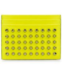 Christian Louboutin Kios Neon Spiked Leather Card Case - Yellow