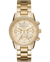 Michael Kors - Ritz Studded Goldtone Stainless Steel Chronograph Bracelet Watch Mk6356 - Lyst