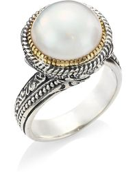 Konstantino - Thalia 18k Yellow Gold, Sterling Silver & Cultured Pearl Ring - Lyst