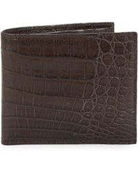 Santiago Gonzalez Crocodile Billfold Wallet - Brown