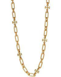 Tory Burch Roxanne Double-t Long Oval-link Necklace - Metallic