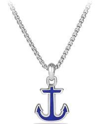 David Yurman - Maritime Gemstone & Sterling Silver Anchor Pendant - Lyst