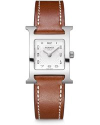 Hermès | Heure H Pm Stainless Steel & Leather Strap Watch | Lyst