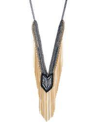 ABS By Allen Schwartz - Smoke & Mirrors Fringe Beaded Y Necklace - Lyst